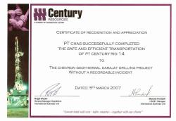 Penghargaan 2007 Certificate of Recognition and AppreciationCentury Resources 2072